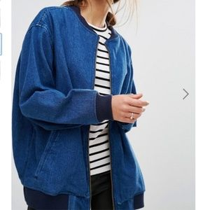ASOS Denim Oversized Bomber Jacket
